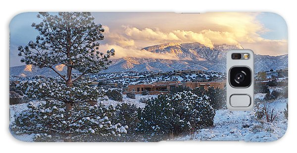 Sandia Mountains With Snow At Sunset Galaxy Case by Mary Lee Dereske