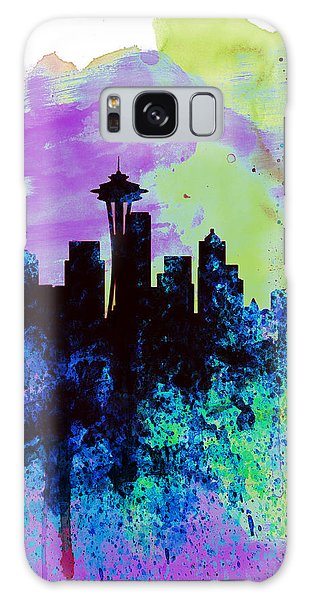 Seattle Watercolor Skyline 1 Galaxy Case by Naxart Studio