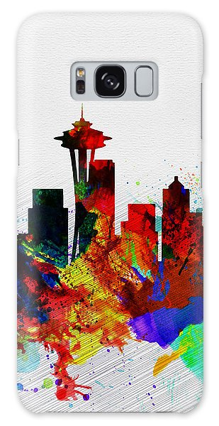 Seattle Watercolor Skyline 2 Galaxy Case by Naxart Studio
