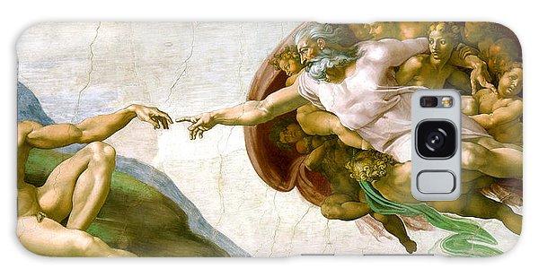 The Creation Of Adam Galaxy Case by Michelangelo di Lodovico Buonarroti Simoni