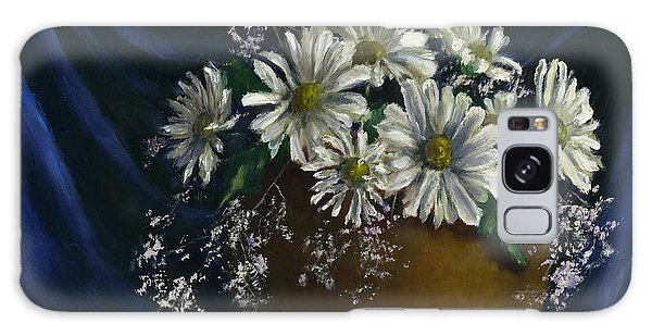 White Daisies In Blue Fabric Still Life Art Galaxy Case