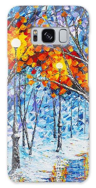 Silence Winter Night Light Reflections Original Palette Knife Painting Galaxy Case