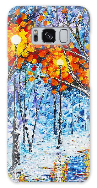 Silence Winter Night Light Reflections Original Palette Knife Painting Galaxy Case