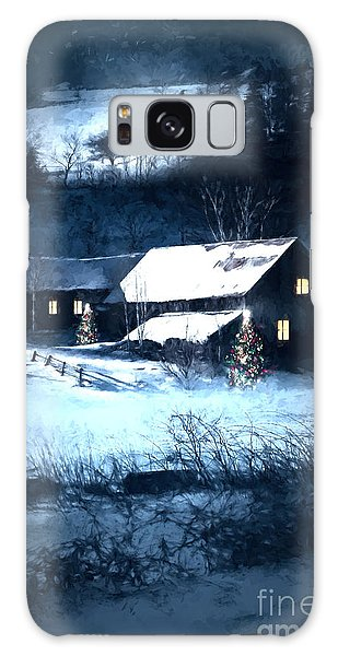Galaxy Case featuring the photograph Snow Scene Of A Farmhouse At Night/ Digital Painting by Sandra Cunningham