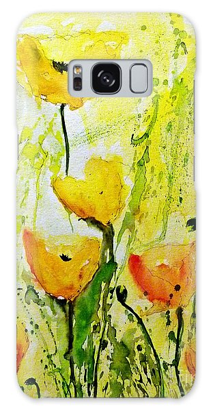 Yellow Poppy 2 - Abstract Floral Painting Galaxy Case by Ismeta Gruenwald