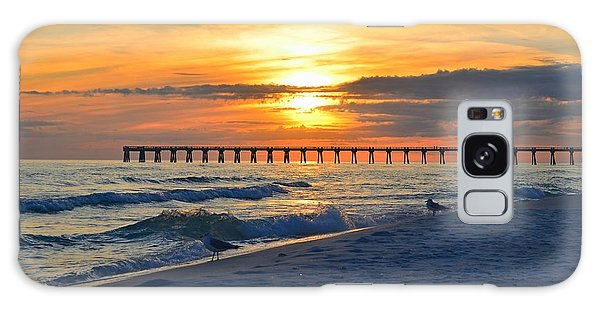 0108 Sunset Colors Over Navarre Pier On Navarre Beach With Gulls Galaxy Case by Jeff at JSJ Photography