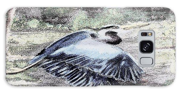091714 Graphic Pen Blue Heron Galaxy Case