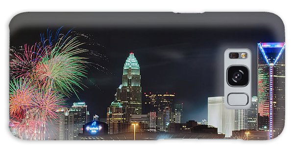 4th Of July Firework Over Charlotte Skyline Galaxy Case