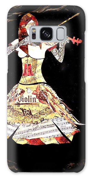 Steampunk Girl Abstract Painting Girl With Violin Fashion Collage Painting Galaxy Case