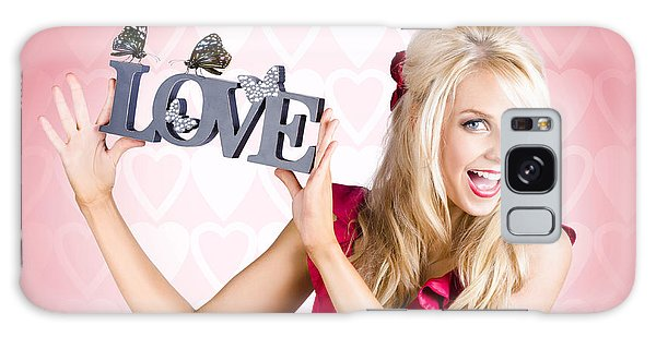 Vivacious Galaxy Case - Affectionate Blonde Woman With Love Butterflies by Jorgo Photography - Wall Art Gallery