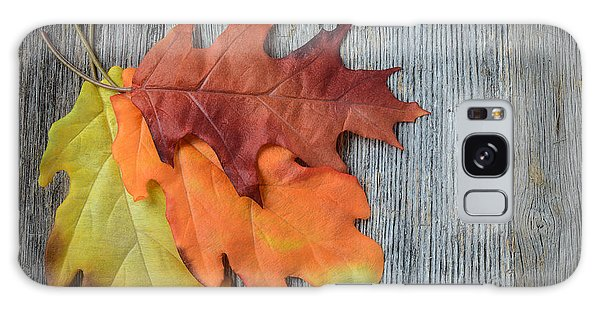 Autumn Leaves On Rustic Wooden Background Galaxy Case
