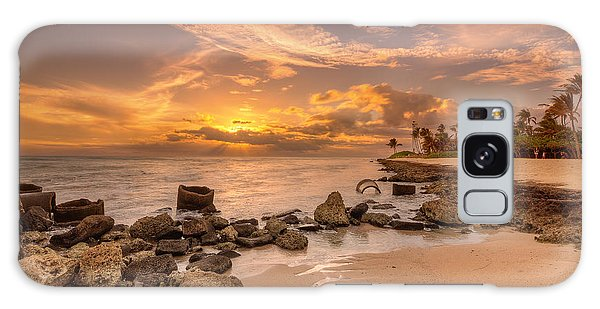 Barbers Point Light House Sunset Galaxy Case