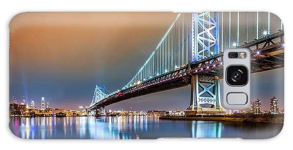 Ben Franklin Bridge And Philadelphia Skyline By Night Galaxy Case