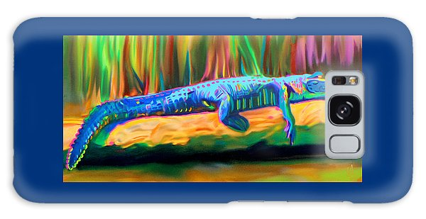 Galaxy Case featuring the painting Blue Alligator by Deborah Boyd