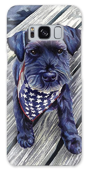 Black Dog On Pier Galaxy Case