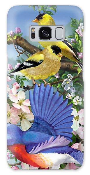 Bluebird And Goldfinch Galaxy Case