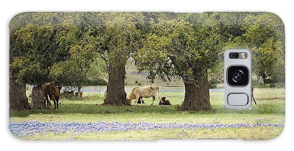 Bluebonnets And Bovines Galaxy Case