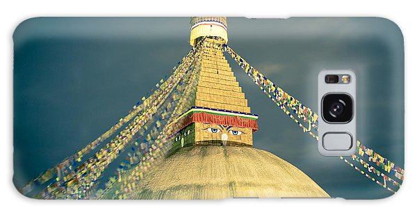 Bodhnath Stupa At Night In Kathmandu Galaxy Case