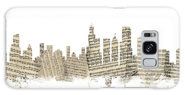 Chicago Skyline Galaxy Case - Chicago Illinois Skyline Sheet Music Cityscape by Michael Tompsett