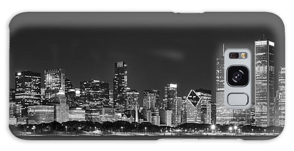 Chicago Skyline At Night Black And White Panoramic Galaxy Case