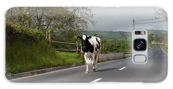 Cow Walks Along Country Road Galaxy Case