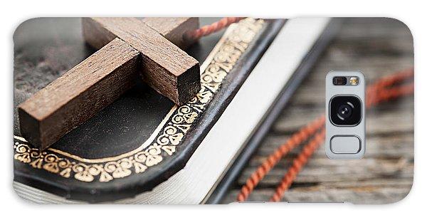 Religious Galaxy Case - Cross On Bible by Elena Elisseeva