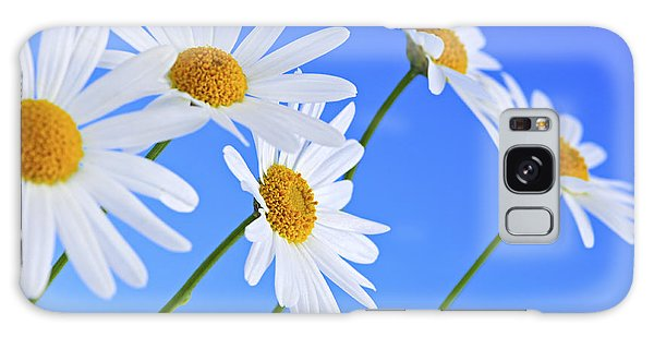 Daisy Flowers On Blue Background Galaxy Case