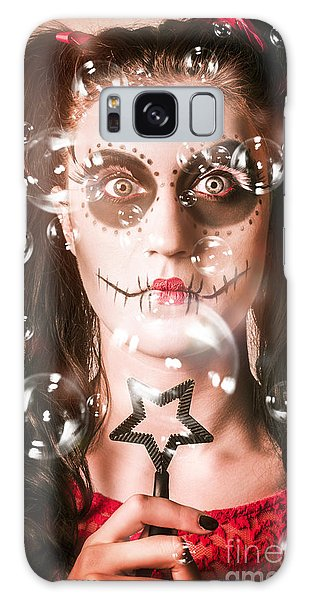 Voodoo Galaxy Case - Day Of The Dead Girl Blowing Party Bubbles by Jorgo Photography - Wall Art Gallery