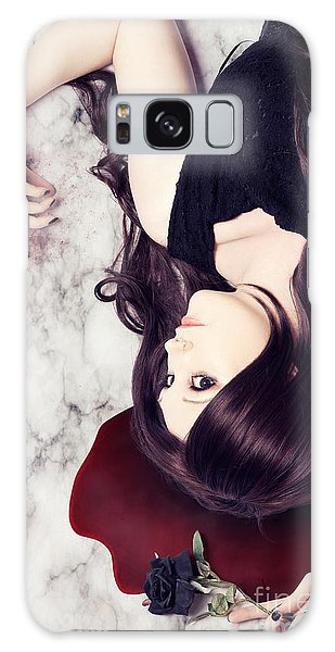 Heartache Galaxy Case - Dead Woman Holding Black Flower In Blood Puddle by Jorgo Photography - Wall Art Gallery