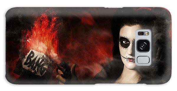 Voodoo Galaxy Case - Deadly Sugarskull Girl Firing Pop Gun With Bang by Jorgo Photography - Wall Art Gallery