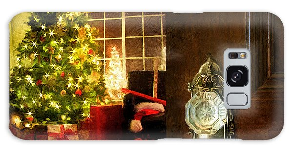 Galaxy Case featuring the photograph Door Opening Into A Christmas Living Room Digital Painting by Sandra Cunningham