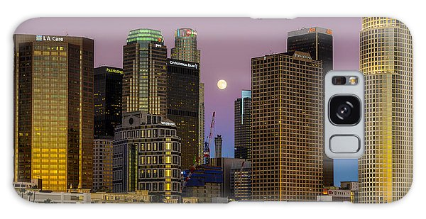 Downtown Los Angeles Moonrise Galaxy Case by Joe Doherty