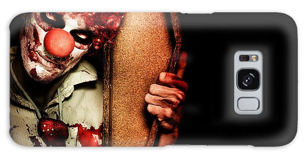 Voodoo Galaxy Case - Evil Horrible Clown Holding Coffin In Darkness by Jorgo Photography - Wall Art Gallery
