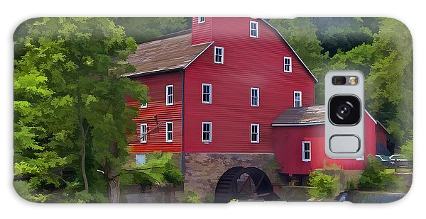 Faded Red Water Mill On The Dam Of The Raritan River Galaxy Case