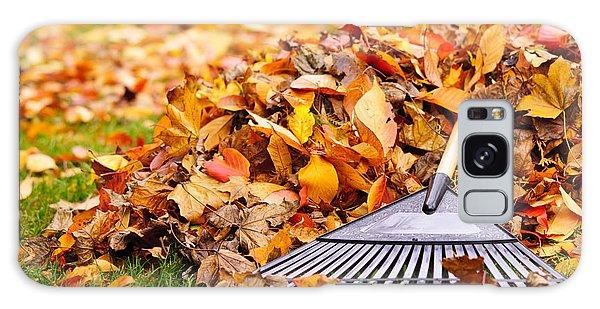 Leaf Galaxy Case - Fall Leaves With Rake by Elena Elisseeva
