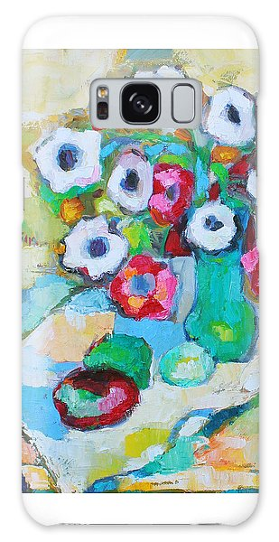 Flowers In Green Vase Galaxy Case by Becky Kim