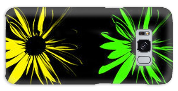 Flowers On Black Galaxy Case