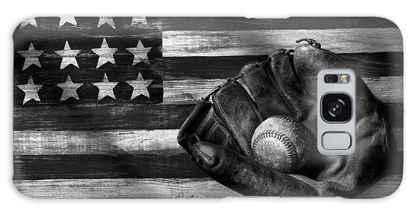 Folk Art American Flag And Baseball Mitt Black And White Galaxy Case