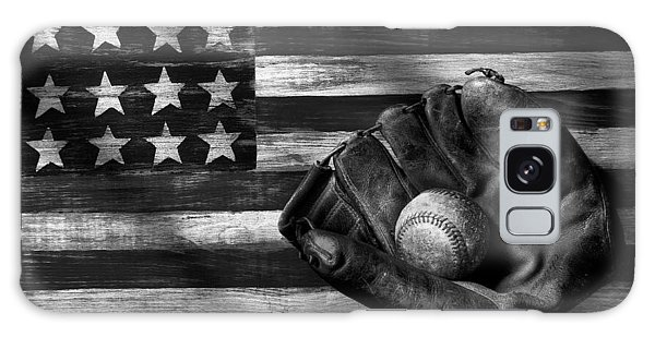 Baseball Galaxy Case - Folk Art American Flag And Baseball Mitt Black And White by Garry Gay