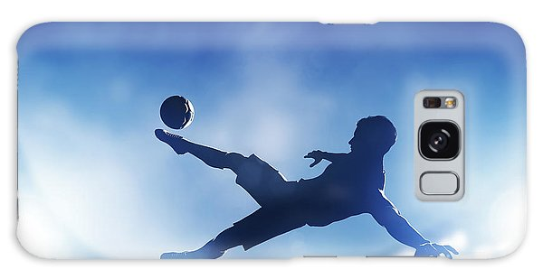 Football Soccer Match A Player Shooting On Goal Galaxy Case by Michal Bednarek