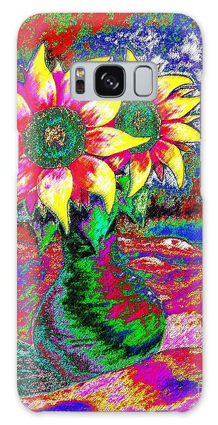 Funky Sunflowers Galaxy Case by Annie Zeno