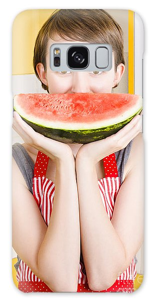 Watermelon Galaxy S8 Case - Funny Woman With Juicy Fruit Smile by Jorgo Photography - Wall Art Gallery