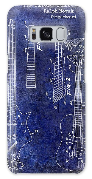 Blueprint Galaxy Case - Gibson Guitar Patent Drawing Blue by Jon Neidert