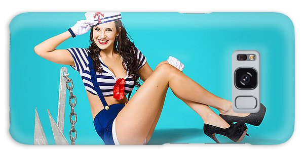 Vivacious Galaxy Case - Gorgeous Pin Up Sailor Girl Wearing Hat by Jorgo Photography - Wall Art Gallery
