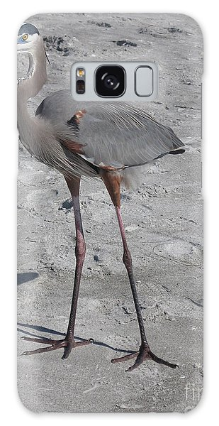 Great Blue Heron On The Beach Galaxy Case by Christiane Schulze Art And Photography