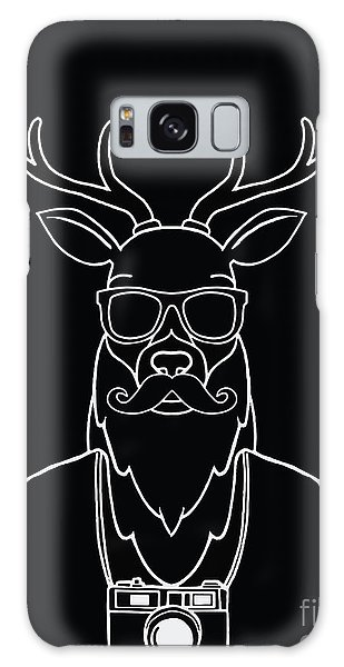 Scarf Galaxy Case - Hand Drawn Hipster Deer In Sunglasses by 9george