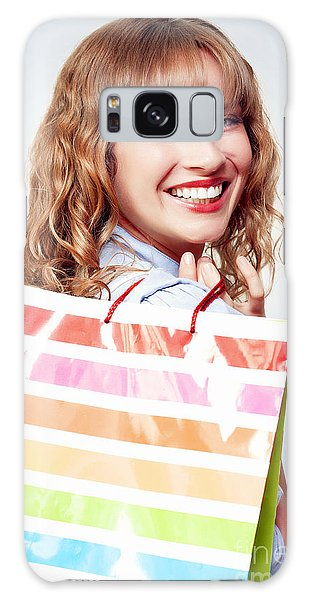 Vivacious Galaxy Case - Happy Female Retail Shopper With Bag And Smile by Jorgo Photography - Wall Art Gallery