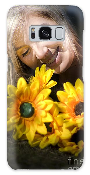 Helianthus Annuus Galaxy Case - Happy Woman With Sunflowers by Jorgo Photography - Wall Art Gallery