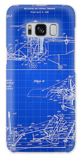 Helicopter Galaxy S8 Case - Helicopter Patent 1940 - Blue by Stephen Younts
