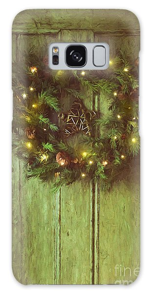Galaxy Case featuring the photograph Holiday Wreath On Wooden Door/ Digital Painting by Sandra Cunningham